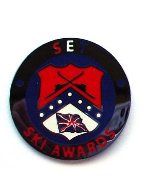 Die stamped badge 25mm in size with a hard enamel infill.