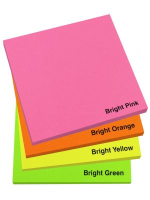 75mm x 75mm Bright Sticky Note Pad- Colour Options