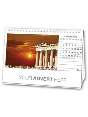 Branded desk calendar with your logo printed under the main image.