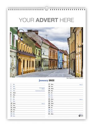 Portrait A3 wire bound wall calendar branded with your company details in the header.