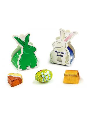 Rabbit shaped small gift box containing a small flavoured Easter egg.
