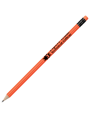 Fluorescent Wooden Pencil with Eraser- Orange with printing