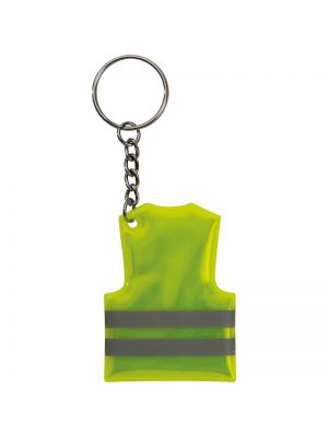 Hi-Vis Jacket shaped reflective keyring with your logo printed above the reflective stripes.