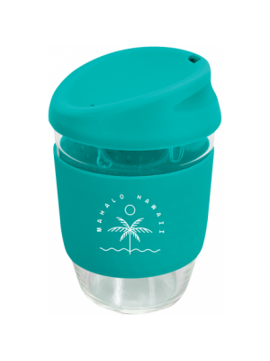 Kiato Cup with Silicone Band- Teal with printing
