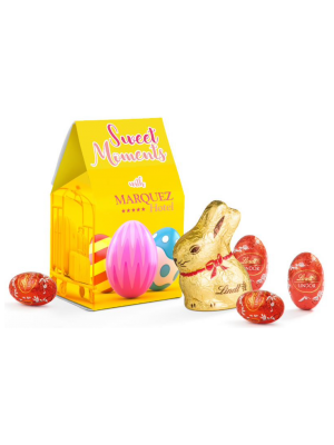 Personalised card box containing Lindt Easter bunny and Lindor Easter eggs.