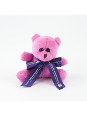 Mini Coloured Bow Teddy Bear 10cm- Cerise