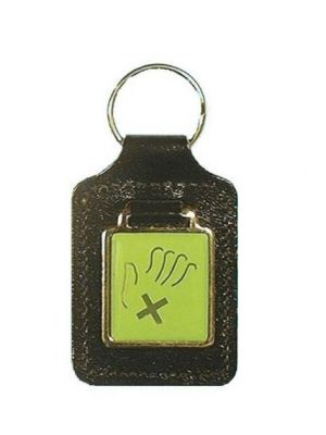 Domed Large Square Leather Keyfob