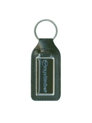 Domed New Long Square Bonded Leather Keyfob