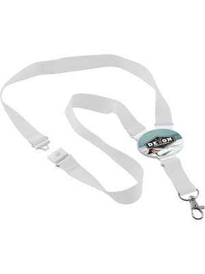 Oval Snap Lanyard- White with printed connector