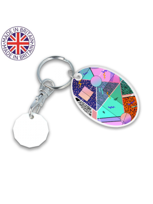 Oval Trolley Mate Keyring- White coin