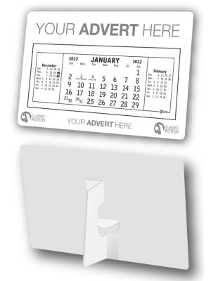 Compact desk calendar with cardboard easel and your branding printed to the header and footer.
