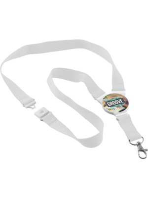 Round Snap Lanyard- White with printed connector