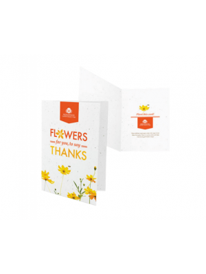 Recycled paper greetings card embedded with wildflower seed and printed with your details to the front and inside.