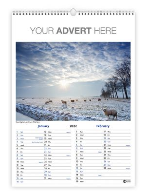 Portrait A4 wall wire bound calendar with your branding to the header and your choice of image.
