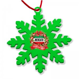 Coloured Snowflake Christmas Decoration in green made from recycled plastic in the UK.