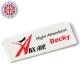 75mm Rectangle Badge- White