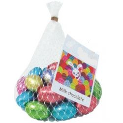 Net of chocolate foil covered easter eggs with your branding printed to a swing tag.