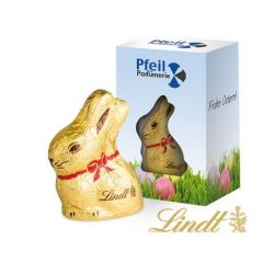 Lindt bunny in a personalised box with a rabbit cut out to display the Lindt bunny.