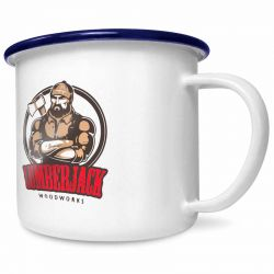 20oz white enamel mug with your logo/details branded to the front.