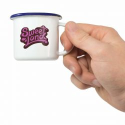 Compact white enamel espresso mug with your logo branded to the front.