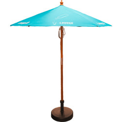 Wooden garden parasol with branding to the parasol.