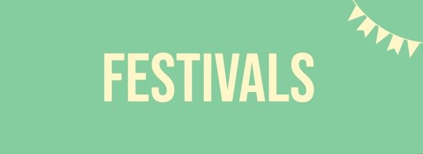Small website banner showing leading to a page showing festival merchandise.