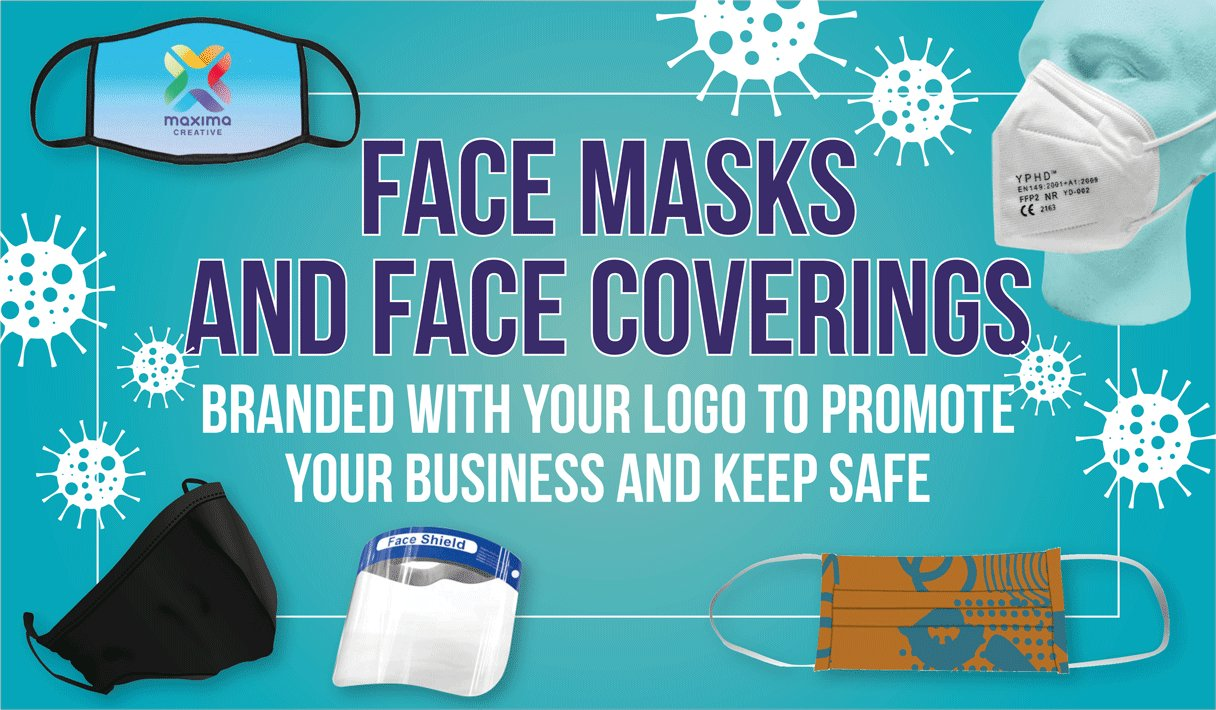 Large website banner leading to a page showing face masks available for branding with your logo.