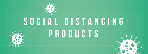 Small website banner leading to a page showing products available for branding to maintain social distancing.