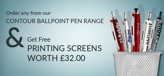 Order any from our CONTOUR BALLPOINT PEN RANGE & Get Free PRINTING SCREENS WORTH £32.00